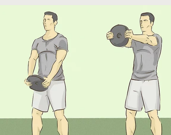 حرکت بالا بردن وزنه از سمت جلو را تمرین کنید
